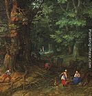 Jan the elder Brueghel Rest on the Flight to Egypt [detail 1] painting